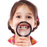 Girl showing teeth through a magnifier - specialsmilesdentistry.com