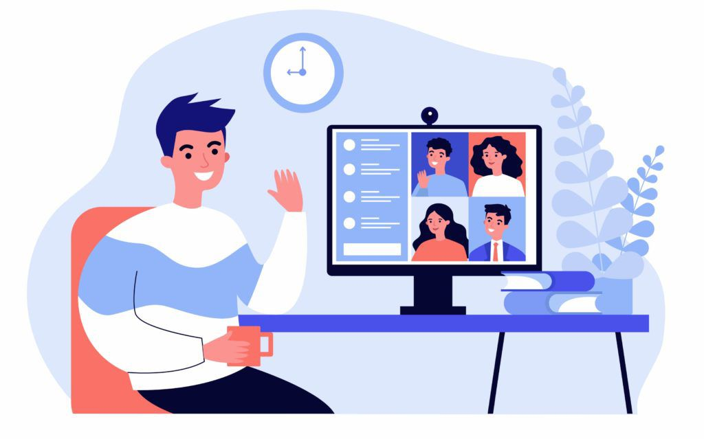 cartoon of man speaking with family on computer screen