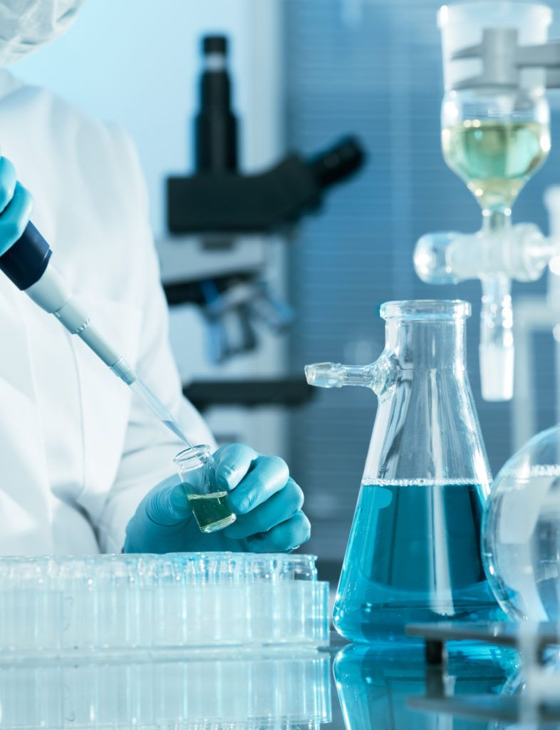 dental tests going on chemical bottles