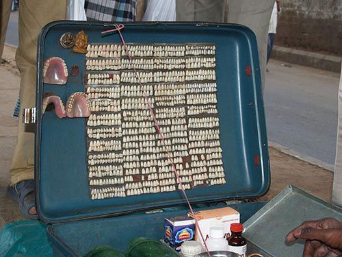 suitcase of veener and denture teeth