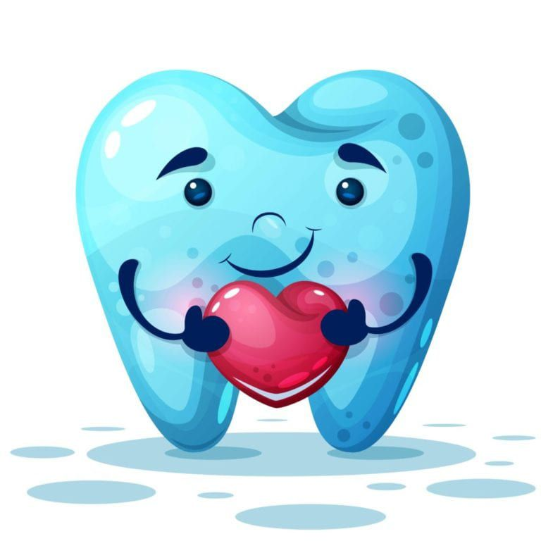 cartoon tooth holding a heart