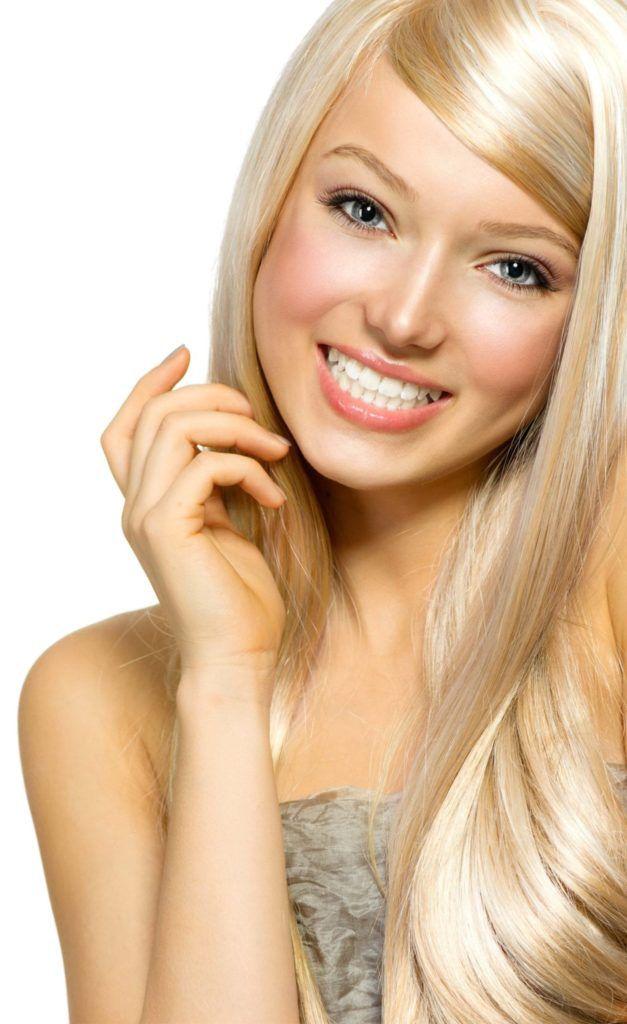 pretty blonde smiling