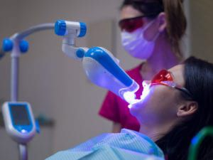 Person Undergoing Whitening Treatment