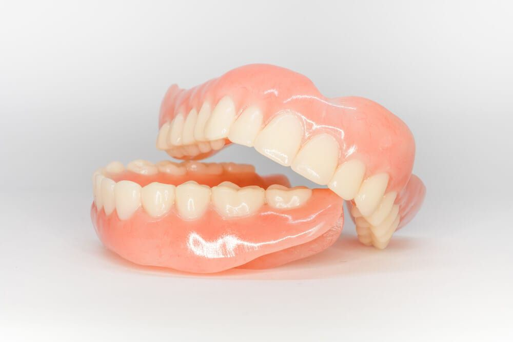 dentures on isolated background