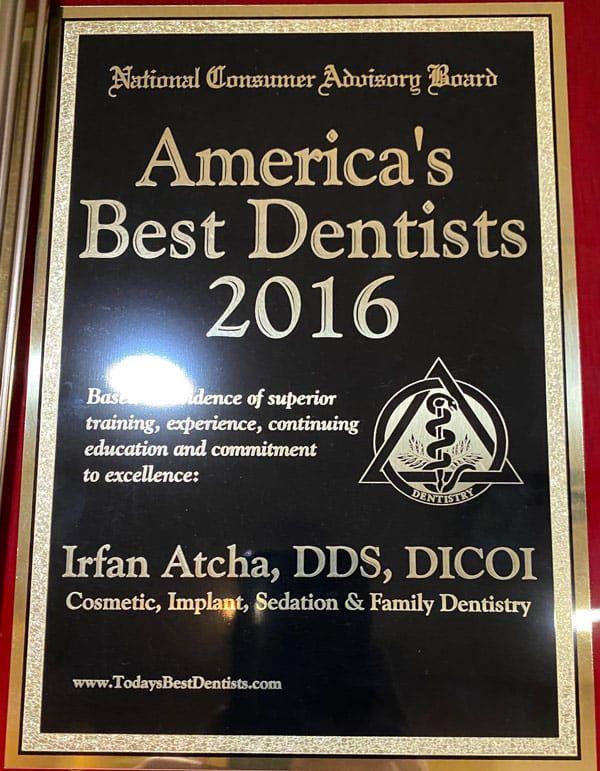 American Best dentists 2016 Dr. Irfan Atcha DDS