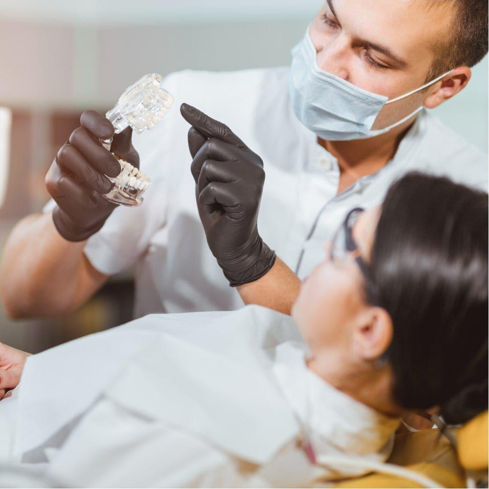 Dental patient undergoes dental checkup